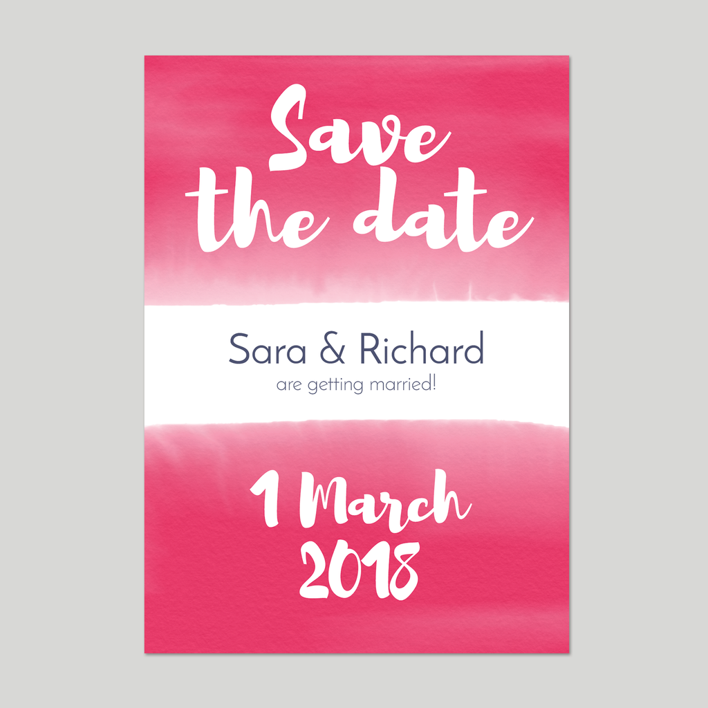 Personalised wedding save the date by Draenog Design - Cerdyn cadw dyddiad y briodas - Sara and Richard