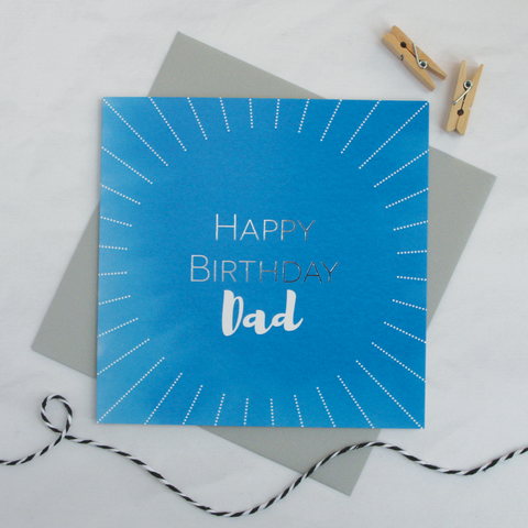 Happy birthday Dad silver foil card - Draenog