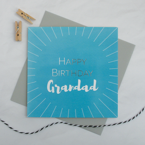 Happy birthday Grandad silver foil card - Draenog