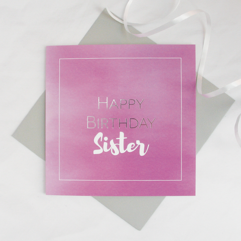 Happy birthday Sister silver foil card - Draenog