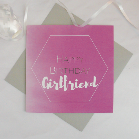 Happy birthday Girlfriend silver foil card - Draenog