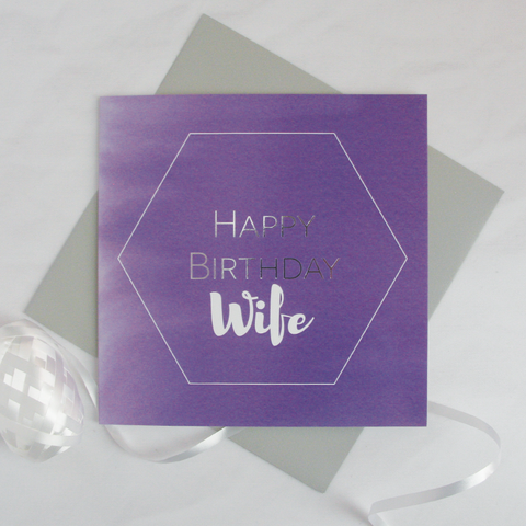 Happy birthday Wife silver foil card - Draenog