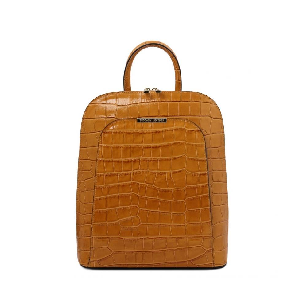 Croc Print Leather Backpack Cognac