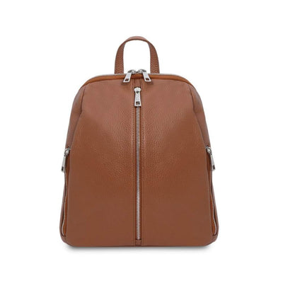 TL Soft Leather Backpack - Cognac. Genuine Italian Leather.