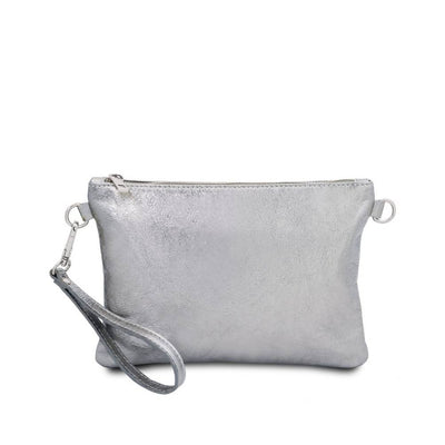 Metallic Leather Clutch - Silver. Made in Italy.