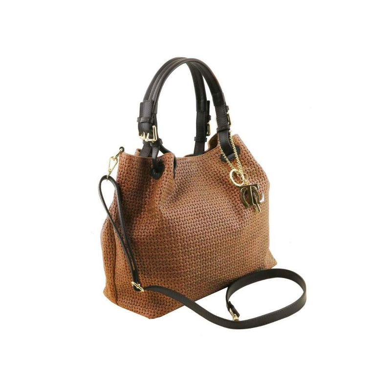 TL Keyluck Leather Bag - Cinnamon. Made in Italy.