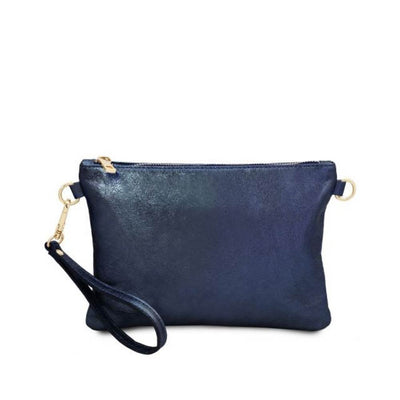 Metallic Leather Clutch - Dark Blue. Made in Italy.