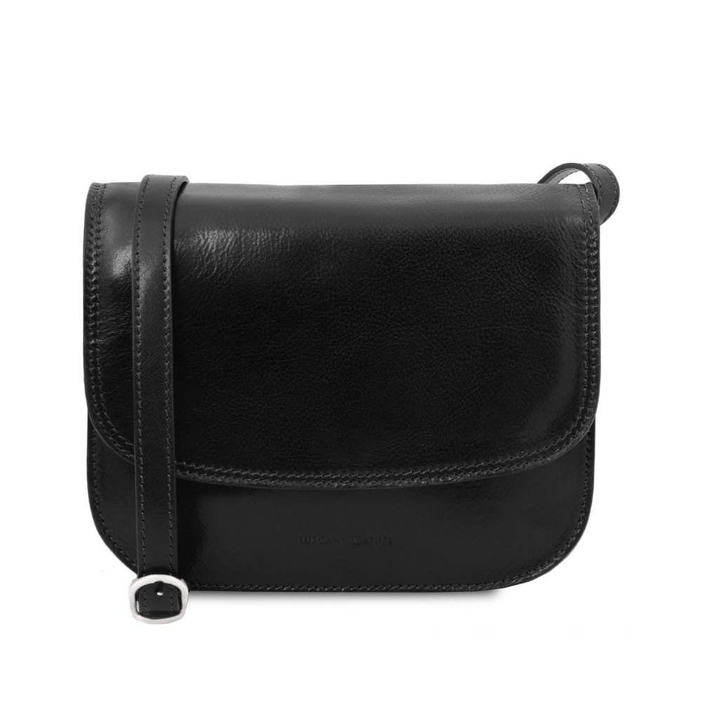 GRETA Leather handbag - Black. Full grain hand stained calfskin leather