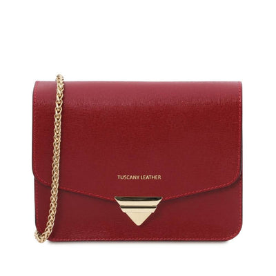 Saffiano Leather Clutch- Red. Genuine Italian Leather.