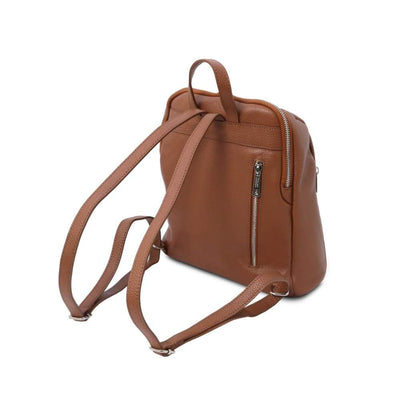 Back View. TL Soft Leather Backpack - Cognac. Genuine Italian Leather.