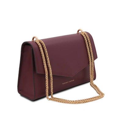 Side View. Fortuna Leather Clutch - Bordeaux. Genuine Italian Leather.