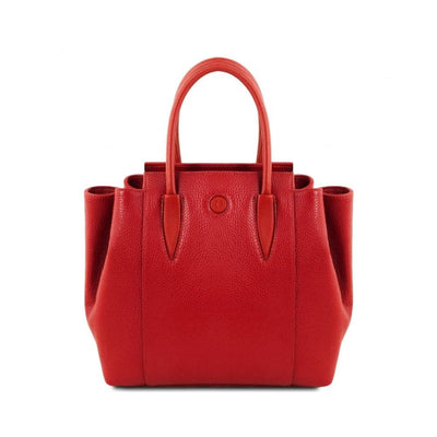Tulipan Genuine Leather Bag - Lipstick Red. Made in Italy
