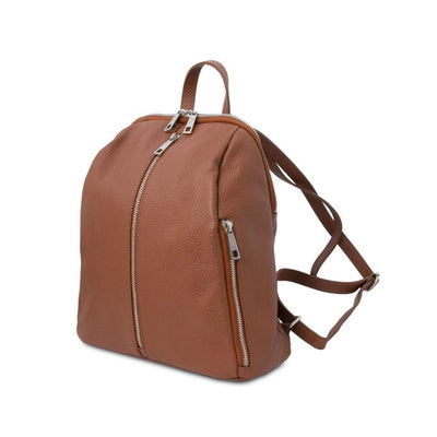 Side view. TL Soft Leather Backpack - Cognac. Genuine Italian Leather.