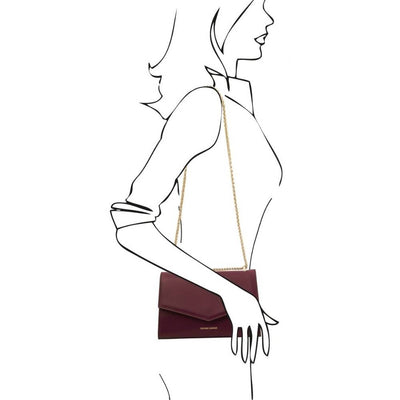 As worn by model. Fortuna Leather Clutch - Bordeaux. Genuine Italian Leather.