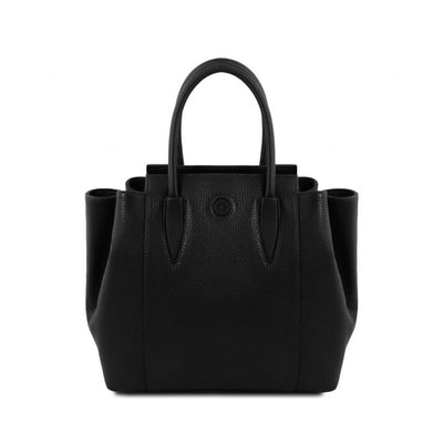 Tulipan Genuine Leather Bag - Black. Made in Italy
