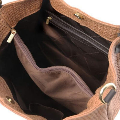 Inside View.TL Keyluck Leather Bag - Cinnamon. Made in Italy.