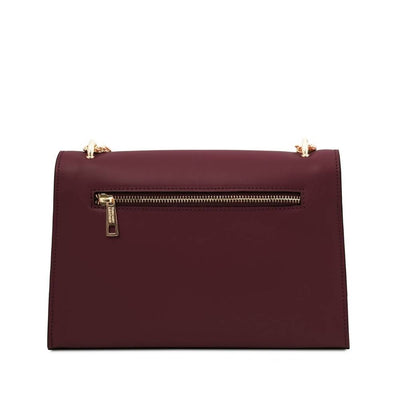 Rear view. Fortuna Leather Clutch - Bordeaux. Genuine Italian Leather.