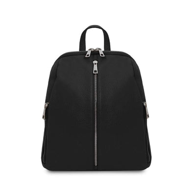 TL Soft Leather Backpack - Black. Genuine Italian Leather.
