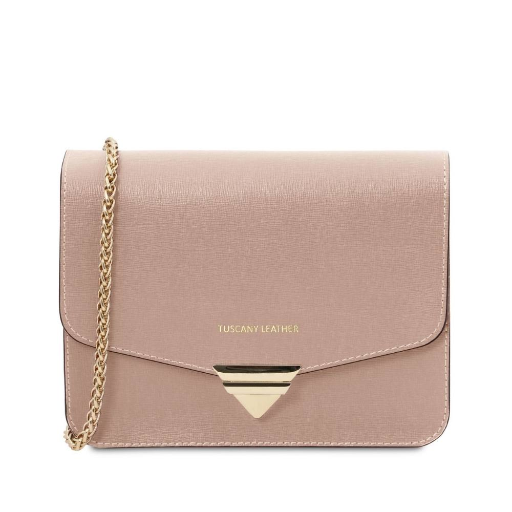 Saffiano Leather Clutch- Nude. Genuine Italian Leather.