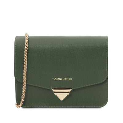 Saffiano Leather Clutch- Forest Green. Genuine Italian Leather.