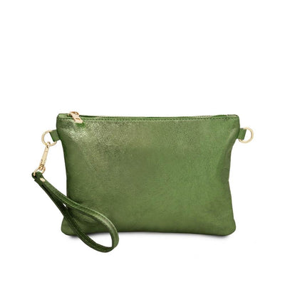 Metallic Leather Clutch - Green. Made in Italy.