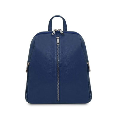 TL Soft Leather Backpack - Dark Blue. Genuine Italian Leather.