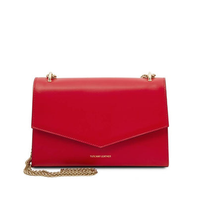 Fortuna Leather Clutch - Red. Genuine Italian Leather.
