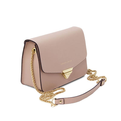 Side View. Saffiano Leather Clutch- Nude. Genuine Italian Leather.