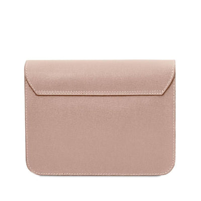 Rear view. Saffiano Leather Clutch- Nude. Genuine Italian Leather.