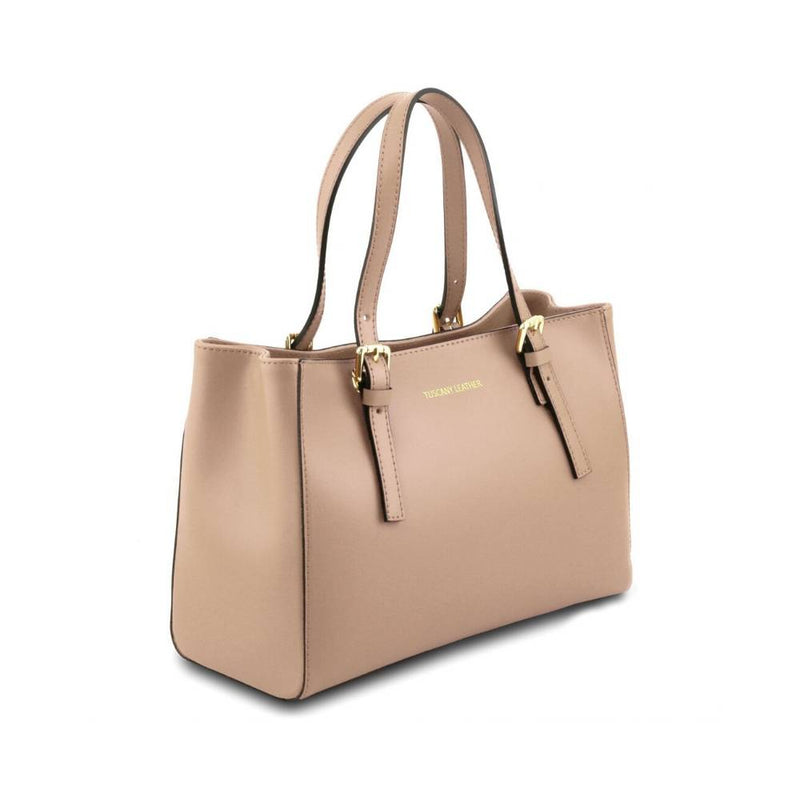 Aura Leather Handbag - Champagne