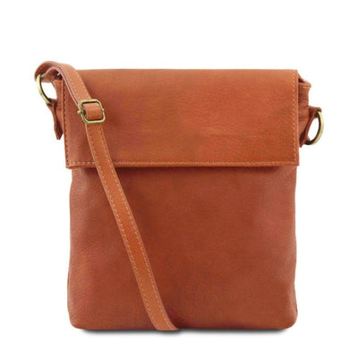 Morgan Leather Crossbody Bag Leather Shoulder Bag TUSCANY LEATHER Cognac