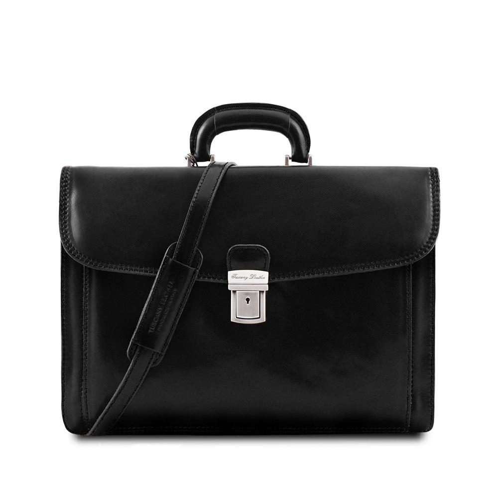 Napoli Briefcase Leather Briefcase TUSCANY LEATHER Black