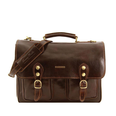 Modena Briefcase Leather Briefcase TUSCANY LEATHER Dark Brown