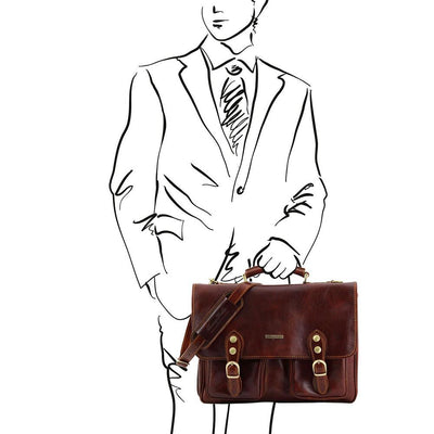 Modena Briefcase Leather Briefcase TUSCANY LEATHER