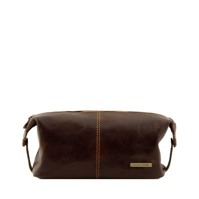 Roxy Toiletry Bag Leather Toiletry Bag TUSCANY LEATHER Dark Brown