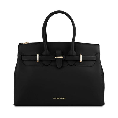 Elettra Leather Handbag Leather Handbag TUSCANY LEATHER Black