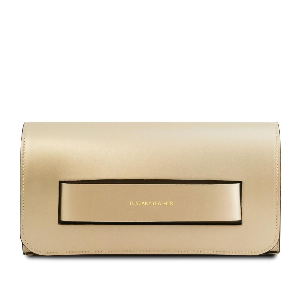 Sophia Leather Clutch Leather Clutch TUSCANY LEATHER Gold