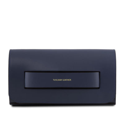 Sophia Leather Clutch Leather Clutch TUSCANY LEATHER Dark Blue