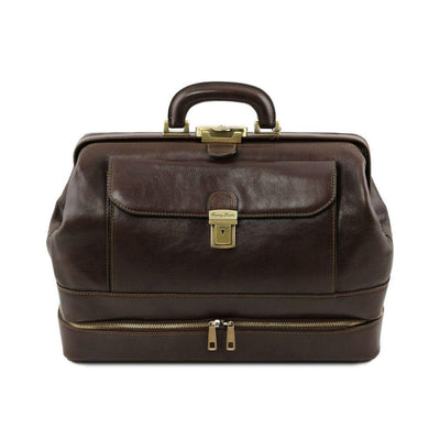 Giotto Leather Doctor Bag Leather Briefcase TUSCANY LEATHER Dark Brown