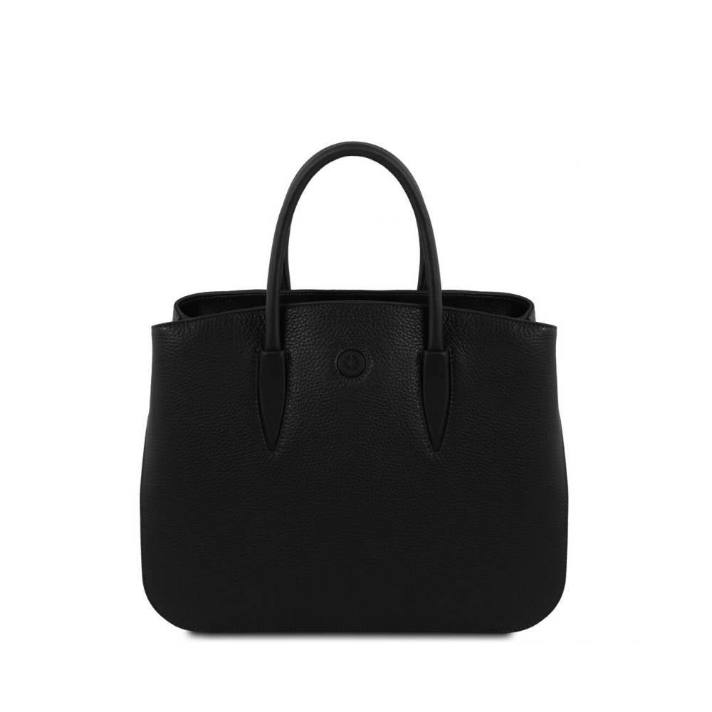 Camelia Leather Handbag - Black. Genuine Italian Leather.