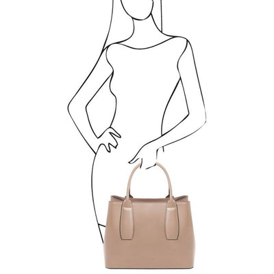 As worn by model. Ebe Leather Handbag - Champagne