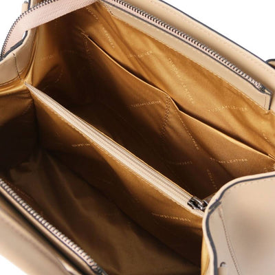 Inside Ebe Leather Handbag - Champagne