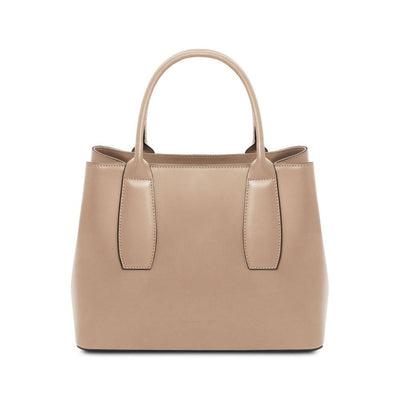 Ebe Leather Handbag - Champagne