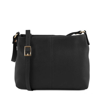 Mini T Soft Leather Shoulder Bag Black