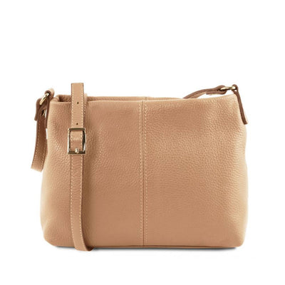 Mini T Soft Leather Shoulder Bag Champagne