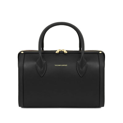 Elena Leather Duffle Bag Black