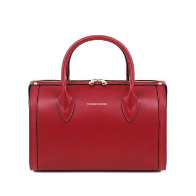 Elena Leather Duffle Bag Red