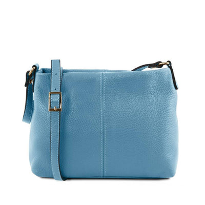 Mini T Soft Leather Shoulder Bag Azure