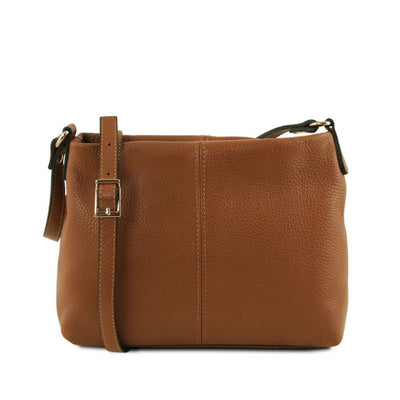Mini T Soft Leather Shoulder Bag Cognac