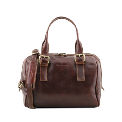 EVELINE LEATHER DUFFLE BAG DARK BROWNTL141714
